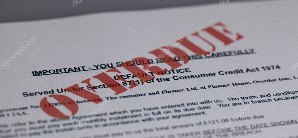 Default notice with overdue stamped across it — Stock Photo #9610348