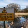 Stock Photo: Deep water warning sign
