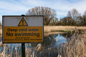 Deep water warning sign — Stock Photo