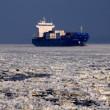 Ship in ice — Stock Photo