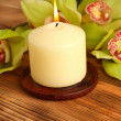 Stock Photo: Candle and flowers