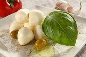 Mozzarella and basil — Stock Photo