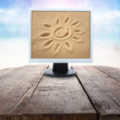 Sun in monitor — Stock Photo