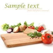 Zelenina zázemí a prázdné znaky — Stock fotografie