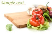 Vegetables background and white space — 图库照片