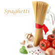 Spaghetti decoration on white background — Stock Photo #10457238