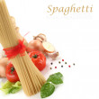Spaghetti decoration on white background — Stock Photo #10457344