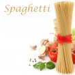 Spaghetti decoration on white background — Stock Photo #10457355