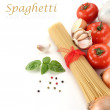 Spaghetti decoration on white background — Stock Photo #10457524