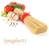 Spaghetti decoration on white background — Stock Photo