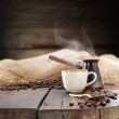 Coffee on old table - Stock Photo