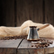 Coffee on old table — Stockfoto
