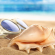 Summer sand and decoration on - Stock Photo