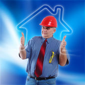 Worker and blue background — Stock Photo