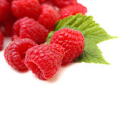Decoration of raspberries and leaf — Photo