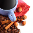 Stock Photo: Black coffee and coffee beans