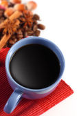 Black coffee and coffee beans with red backgound — Stok fotoğraf