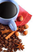 Black coffee and coffee beans — Stok fotoğraf