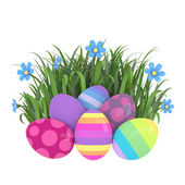 Colorful easter eggs in grass — 图库照片