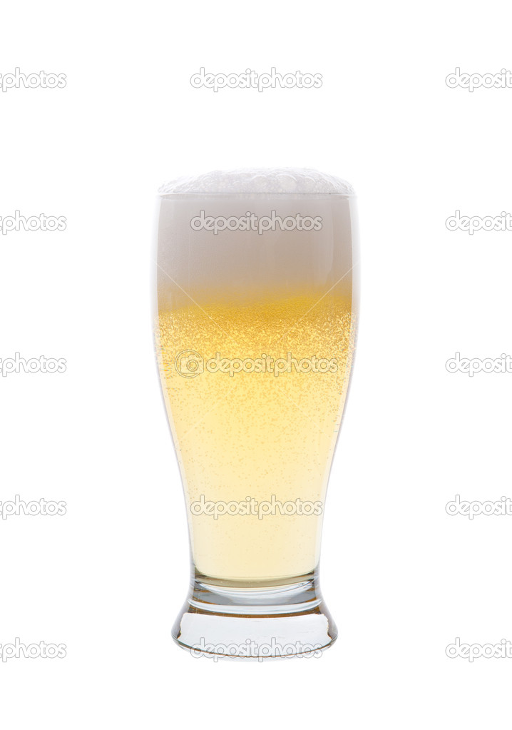 A light pilsner beer isolated on a white background. — Stock Photo #9651361