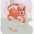 Crazy cat .cartoon. — Imagen vectorial