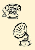 Gramophone, phone — Stock Vector