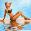Vacation. Beautiful Young Woman At A Pool — Stock Photo