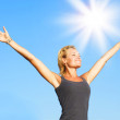 Healthy Young Woman Over Blue Sky — Stock Photo