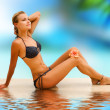 Vacation. Beautiful Young Woman On The Tropical Beach — Stock Photo #10603884