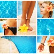 Swimming Pool Collage. Vacation Concept — Stock Photo