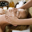 Spa. Young Man getting Face Massage — Stock Photo #10604940