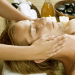 Spa. Young Man getting Face Massage — Stock Photo #10604988