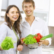 Young Couple Cooking Healthy food.Diet.Kitchen — ストック写真