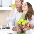 Lovely Sweet Couple eating fresh fruits.Healthy food.Diet — Stock Photo