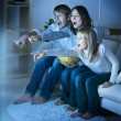 Family watching TV .True Emotions — Zdjęcie stockowe