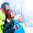Happy Family Outdoors. Snow.Winter Vacation — Foto Stock