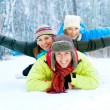 Happy Family Outdoors. Snow.Winter Vacations — Foto de Stock