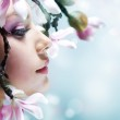 Beautiful Spring Girl with flowers — Stock Photo #10605368