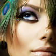Beautiful Fashion Girl face. Peacock Makeup — Stock Photo