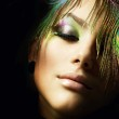 Beautiful Fashion Girl face. Peacock Makeup — Stock Photo #10605395