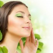 Spring Beauty Outdoors Applying The Natural Cosmetics. Perfect S — Stock Photo