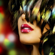Fashion Woman Portrait. Red Lips - Stock Photo
