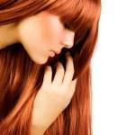 hairstyle.healthy 长长的头发.beautiful 女孩画像 — 图库照片