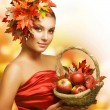 Autumn Girl with Apples - Stock Photo