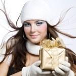 Christmas Gift. Surprised Beautiful Girl — Stock Photo #10605500