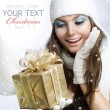 Stock Photo: Christmas Gift. Surprised Beauty
