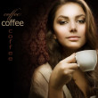 Beautiful Woman With Coffee. Isolated on black. Copy-space — Stock Photo #10605505