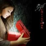 Christmas Gift. Holidays magic — Stock Photo
