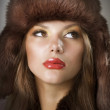 Beautiful Young Woman wearing Fur Hat.Winter Style — Stock Photo
