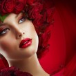 Beautiful Fashion Girl with red makeup and Roses. Hairstyle — Stock Photo
